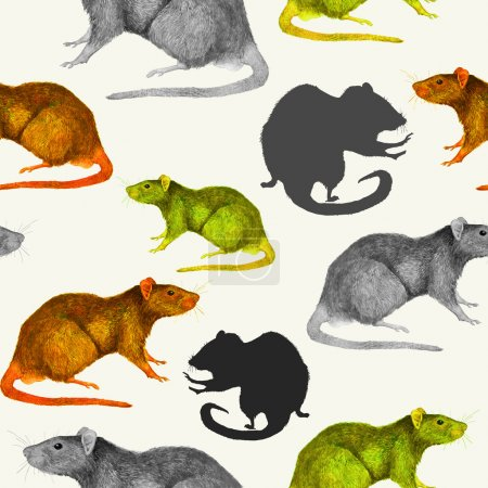 Rats seamless pattern. Grey, yellow and brown hand painted mice, profiles and silhouettes
