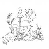 Various hand drawn edible mushrooms fungi ferns flowers stems in black outlines Adult grown-up and child coloring book page suitable for print Stress relieving relaxing drawing activity EPS 10