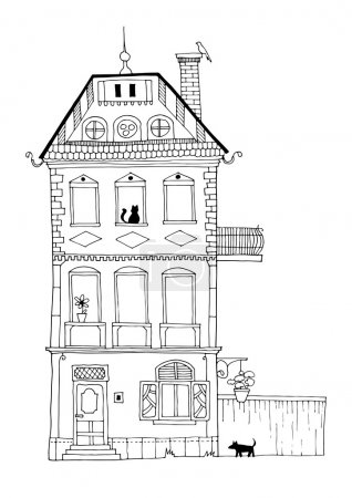 Tall dutch house with architectural details and hidden animals