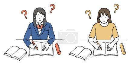 Illustration pour Illustration tactile simple d'une étudiante étudiant - image libre de droit