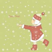 Merry Christmas and Happy New Year 2016 Year of the Monkey Vector Illustration of Little Girl Cartoon Character
