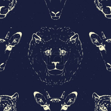 Illustration for Seamless Pattern of Wild Animal heads for printing onto fabric. Vector illustration. - Royalty Free Image
