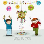 Boys beating pinata Mexican cinco de mayo holiday greeting card hand drawn vector illustration