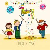 Mexican cinco de mayo holiday celebration vith pinata hand drawn vector illustration
