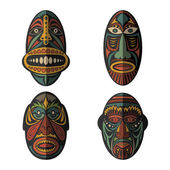 Set of African Ethnic Tribal masks