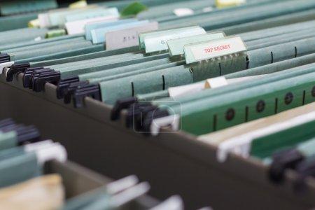File folders in a filing cabinet