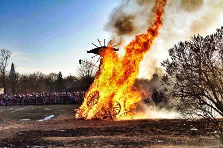 Burning effigy during celebration of Maslenitsa