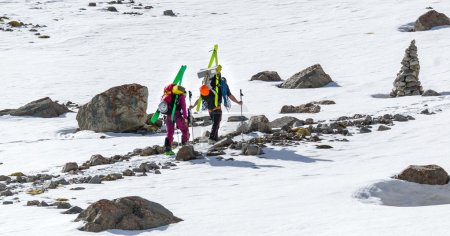 Ski climbers at the mountain in Kyrgyzstan