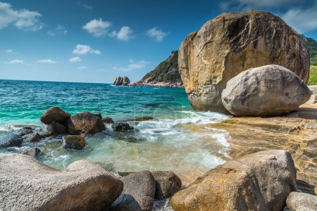 Rocky beach view of Koh Tao island