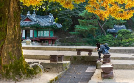 Korean girl sitting at Changdeokgung palace in Seoul