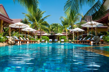 Beautiful swimming pool in tropical resort , Phuke...