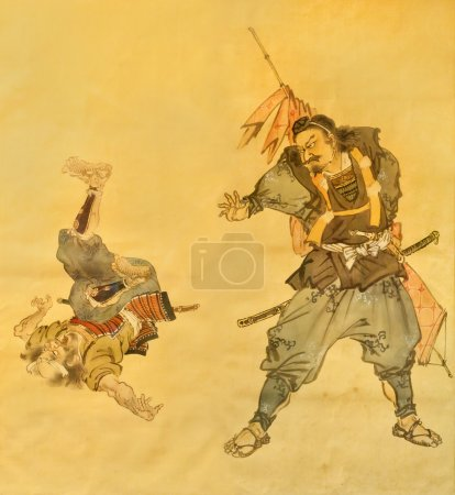 Samurai martial art on old painting