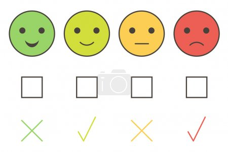 Illustration for Customer service colorful smiley icons: excellent, good, average, poor. - Royalty Free Image