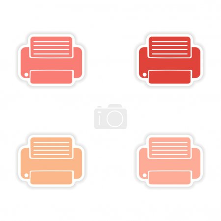 Illustration pour Conception d'assemblage autocollant réalistes sur des imprimantes papier - image libre de droit