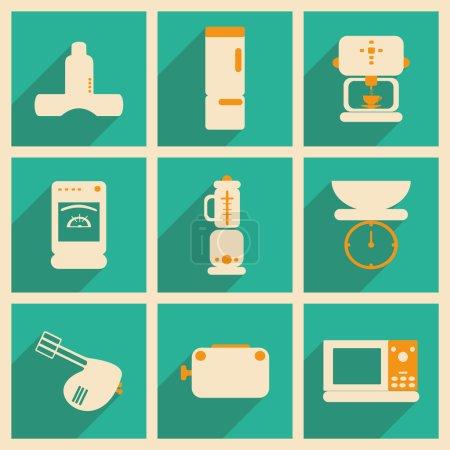 Illustration pour Appartement avec le concept de l'ombre et appareils de cuisine d'application mobile - image libre de droit