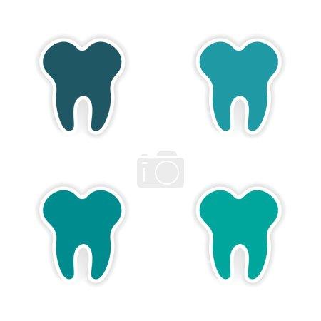 Illustration pour Conception d'assemblage autocollant réaliste sur les dents de papier - image libre de droit