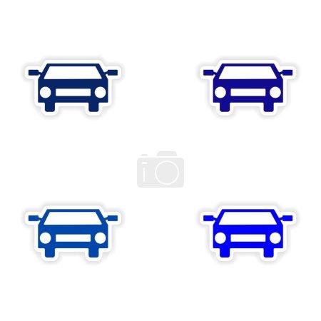 Illustration pour Conception d'assemblage autocollant réaliste sur le sport voitures de papier - image libre de droit