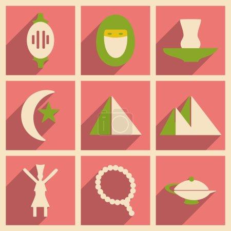 Illustration pour Appartement avec le concept de l'ombre et icônes orientales d'application mobile - image libre de droit