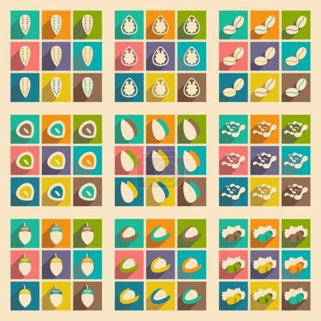 Illustration pour Plat avec le concept de l'ombre et icônes de noix d'application mobile - image libre de droit