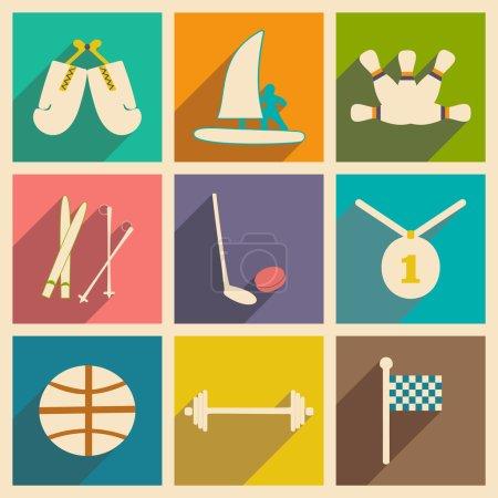 Illustration pour Appartement avec le concept de l'ombre et des sports de l'application mobile - image libre de droit