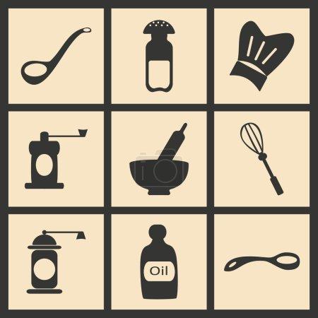Illustration pour Düz siyah ve beyaz konsept mobil uygulama mutfak aletleri - image libre de droit