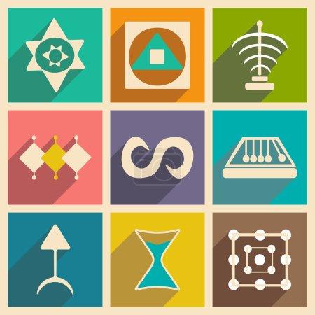 Illustration pour Appartement avec le concept de l'ombre et symboles alchimiques application mobile - image libre de droit