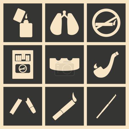 Illustration pour Appartement à fumer application mobile concept noir et blanc - image libre de droit