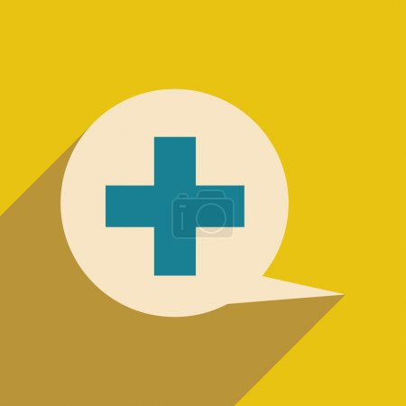 Flat with shadow icon and mobile application logo medical consultation