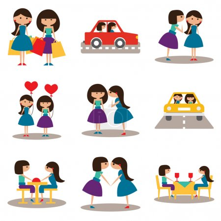 Illustration for Flat with shadow concept and mobile application sisters - Royalty Free Image