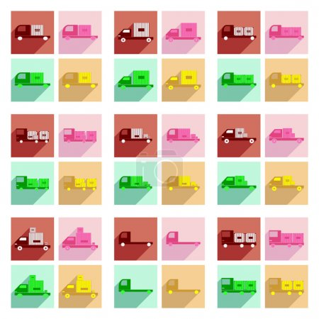 Illustration pour Plat avec le concept de l'ombre et la logistique de marchandises application mobile voiture - image libre de droit