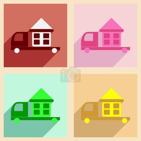 Illustration pour Appartement avec le concept de l'ombre et livraison à domicile application mobile voiture - image libre de droit