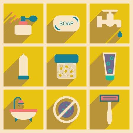 Illustration pour Appartement avec la notion d'ombre et soins du corps application mobile - image libre de droit