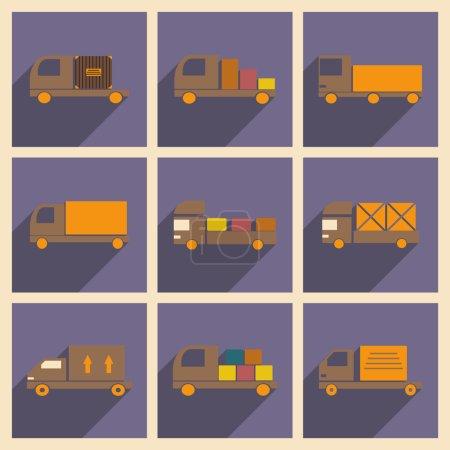 Illustration pour Appartement avec le concept de l'ombre et camions de livraison de voiture application mobile - image libre de droit