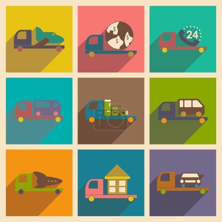 Illustration pour Appartement avec le concept de l'ombre et camion de livraison logistique application mobile - image libre de droit