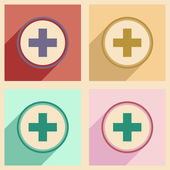 Flat with shadow concept and mobile application logo medical care