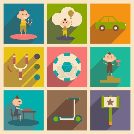 Illustration pour Appartement avec le concept de l'ombre et divertissement pour enfants application mobile - image libre de droit