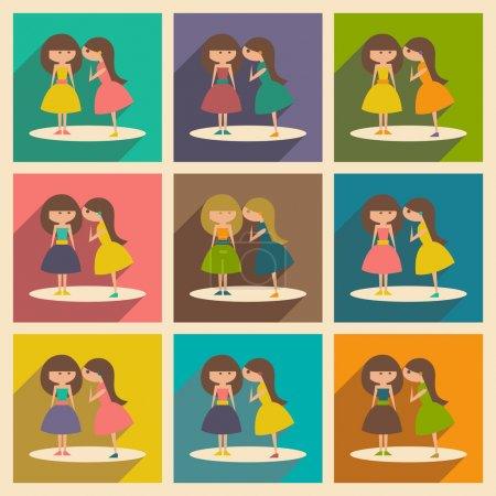 Illustration for Flat with shadow concept and mobile application gossip - Royalty Free Image