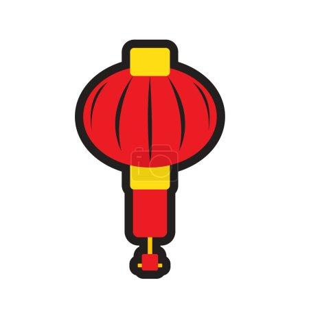 Illustration for Japanese lanterns realistic icon on white backgrounds - Royalty Free Image