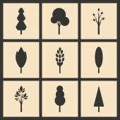 Flat in black and white concept mobile application trees silhouette