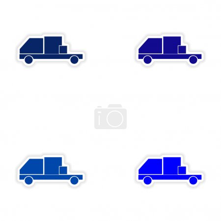 Illustration pour Conception d'assemblage autocollant réaliste sur les camions de boîte de livraison papier - image libre de droit