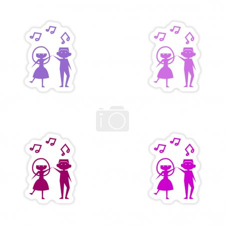 Illustration pour Conception de sticker réaliste d'assemblage sur papier danse en couple - image libre de droit