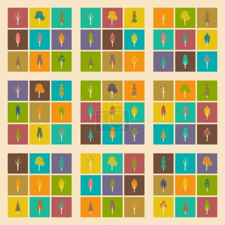 Illustration pour Appartement avec le concept de l'ombre et forêt application mobile - image libre de droit