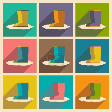 Illustration pour Bottes de plat avec le concept de l'ombre et caoutchouc application mobile - image libre de droit