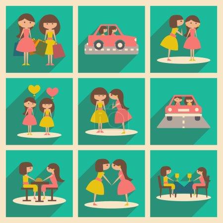 Illustration pour Appartement avec le concept de l'ombre et l'amitié féminine application mobile - image libre de droit