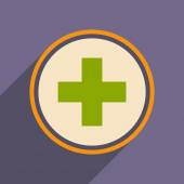 Flat with shadow icon and mobile application logo medical care