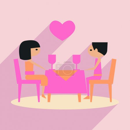 Illustration for Flat with shadow icon and mobile application romantic dinner - Royalty Free Image
