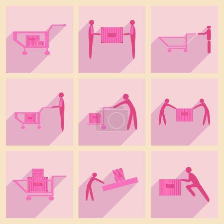 Illustration pour Appartement avec le concept de l'ombre et chargeurs de camion de livraison application mobile - image libre de droit