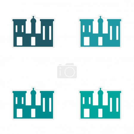 Illustration pour Conception d'assemblage autocollant réaliste sur Palais papier Egypte - image libre de droit
