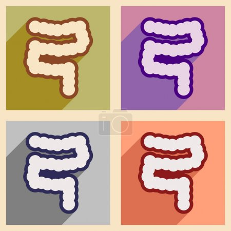 Icons of assembly duodenum in flat style