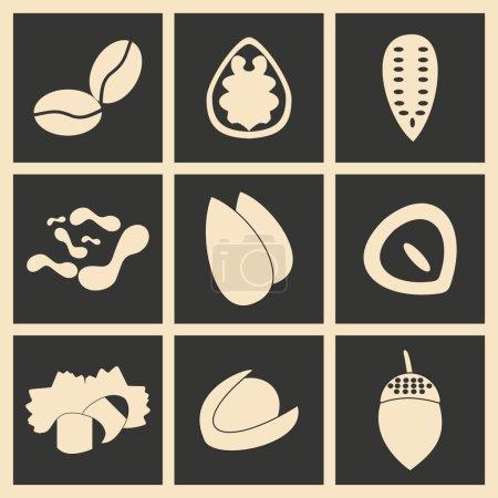 Illustration pour Appartement dans les icônes de noix application mobile concept noir et blanc - image libre de droit